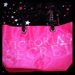 Victoria's Secret Rhinestone studs pink satin tote